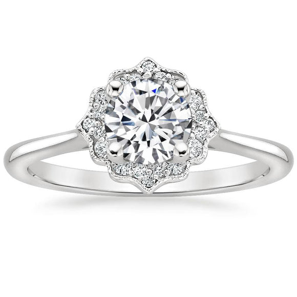 Lab-Diamond, Vintage Round Cut Halo Engagement Ring, Choose Your Stone Size and Metal