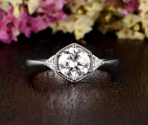 Round Cut Moissanite Engagement Ring, Art Deco Trilogy Design, Choose Your Stone Size & Metal