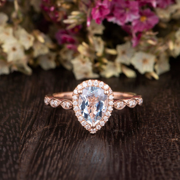 1.50ct Aqua Marine Pear Cut Halo Engagement Ring, Vintage Design, Choose Your Metal