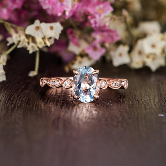 1.25ct Aqua Marine Oval Cut Engagement Ring, Vintage Design, Choose Your Metal