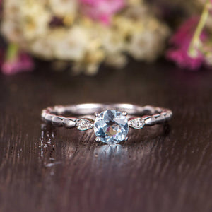 0.50ct Aqua Marine Round Cut Engagement Ring, Vintage Design, Choose Your Metal