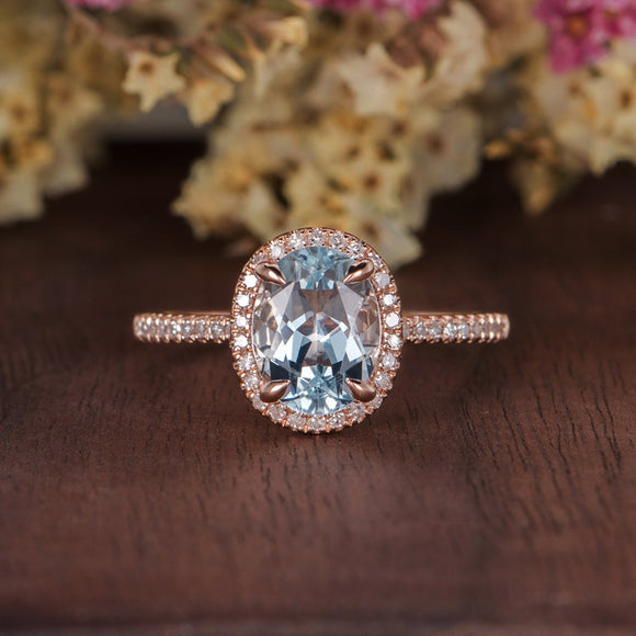 2.00ct Aqua Marine Oval Cut Halo Engagement Ring, Vintage Design, Choose Your Metal
