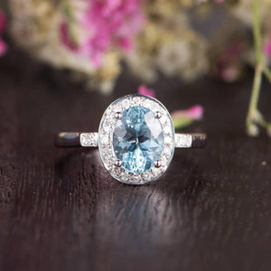 1.25ct Aqua Marine Oval Cut Halo Engagement Ring, Vintage Art Deco Design, Choose Your Metal