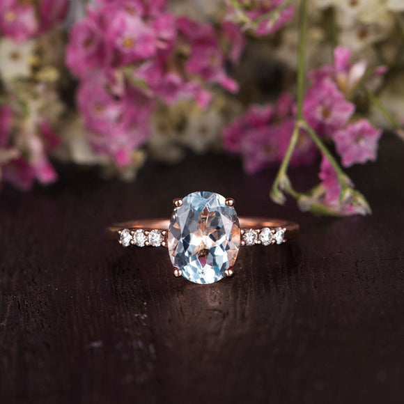 2.00ct Aqua Marine Oval Cut Engagement Ring, Vintage Design, Choose Your Metal