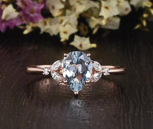 1.50ct Aqua Marine Pear Cut Engagement Ring, Vintage Design, Choose Your Metal