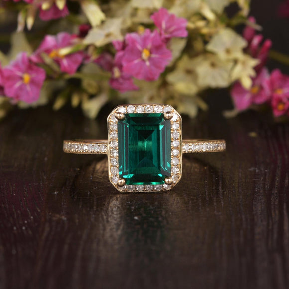 1.75ct Emerald Cut Lab Grown Emerald Engagement Ring, Vintage Design, Choose Your Metal