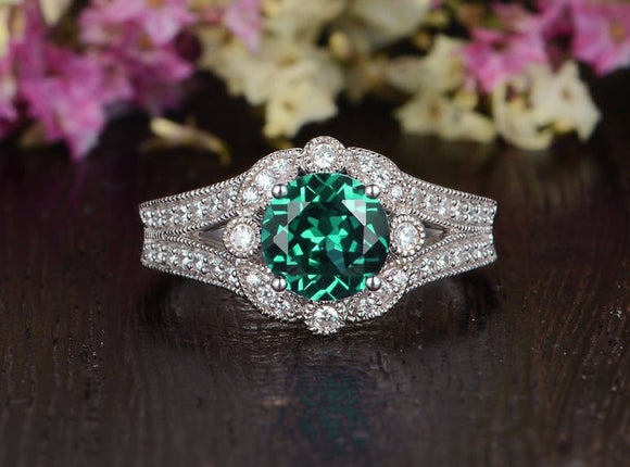 1.25ct Round Cut Lab Grown Emerald Engagement Ring, Vintage Design, Choose Your Metal