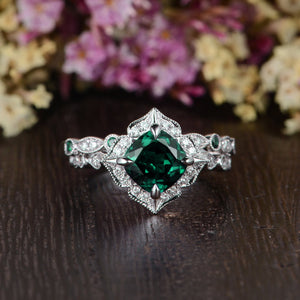 2.00ct Cushion Cut Lab Grown Emerald Bridal Ring Set, Vintage Design, Choose Your Metal