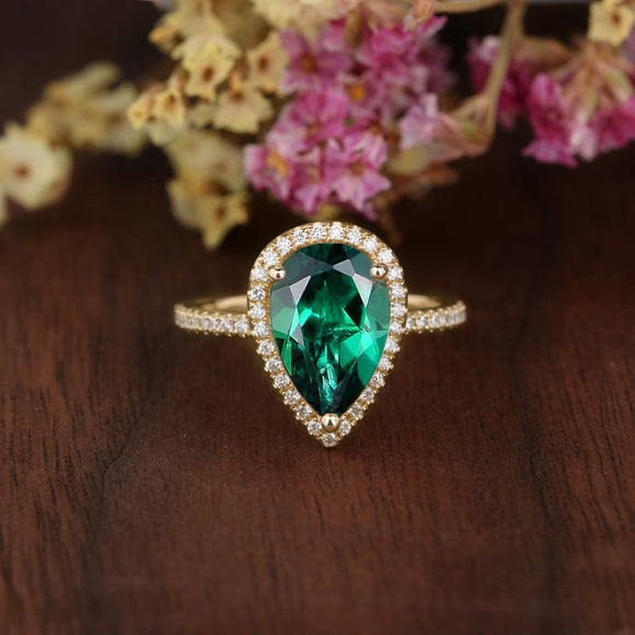 4.00ct Pear Cut Lab Grown Emerald Ring, Vintage Design, Choose Your Metal4.00ct Pear Cut Lab Grown Emerald Engagement Ring, Vintage Design, Choose Your Metal