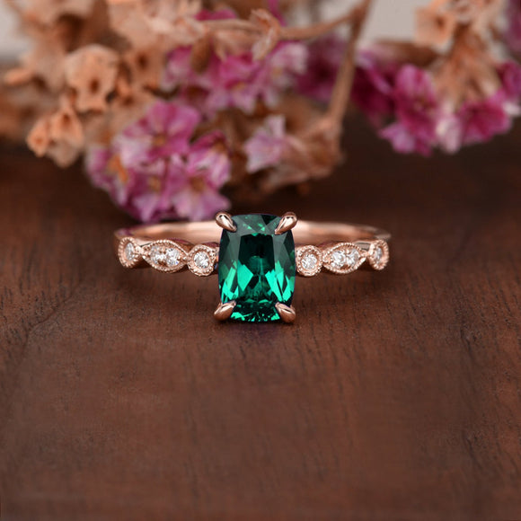 1.25ct Cushion Cut Lab Grown Emerald Engagement Ring, Vintage Design, Choose Your Metal