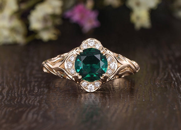 1.00ct Round Cut Lab Grown Emerald Engagement Ring, Vintage Design, Choose Your Metal