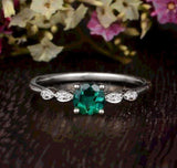 0.50ct Round Lab Grown Emerald Engagement Ring, Vintage Design, Choose Your Metal