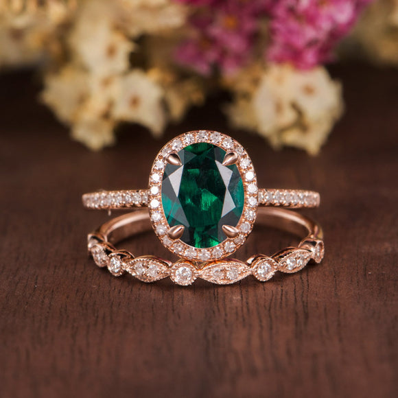 2.00ct Oval Cut Lab Grown Emerald Bridal Ring Set, Vintage Design, Choose Your Metal