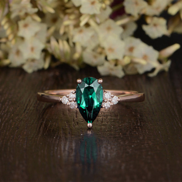 1.00ct Pear Cut Lab Grown Emerald Engagement Ring, Vintage Design, Choose Your Metal