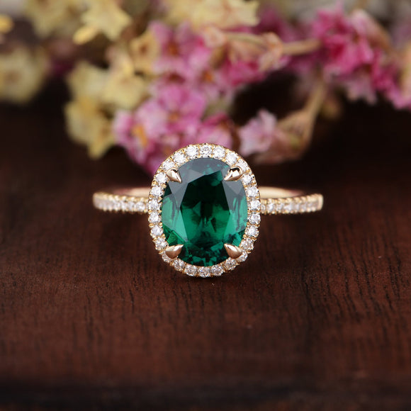 2.00ct Oval Cut Lab Grown Emerald Engagement Ring, Vintage Design, Choose Your Metal