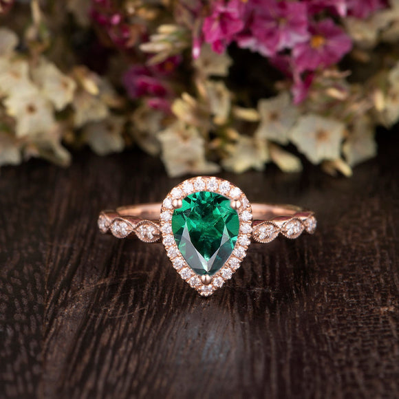 1.25ct Pear Cut Lab Grown Emerald Engagement Ring, Vintage Design, Choose Your Metal