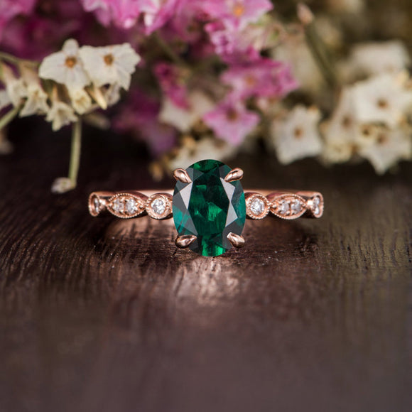 1.25ct Oval Cut Lab Grown Emerald Engagement Ring, Vintage Design, Choose Your Metal