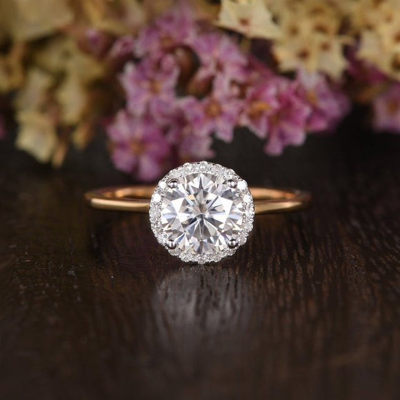 Round Cut Moissanite Engagement Ring, Art Deco Halo Design, Choose Your Stone Size & Metal