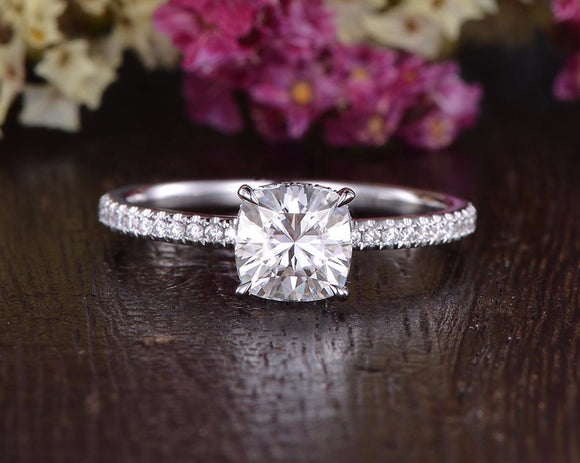 Cushion Cut Moissanite Engagement Ring, Hidden Halo Design, Choose Your Stone Size & Metal