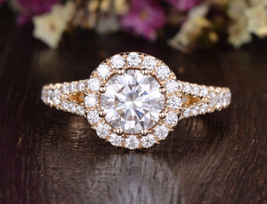 Round Cut Moissanite Engagement Ring, Unique Vintage Halo Design, Choose Your Stone Size & Metal