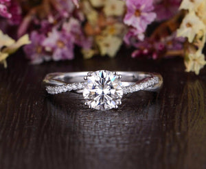 Round Cut Moissanite Engagement Ring, Vintage Twist Design, Choose Your Stone Size & Metal