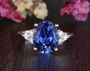 4.00ct Lab Created Blue Sapphire Ring, Art Deco Vintage Design, Oval Cut, Available In All Metal Types