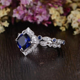 2.00ct Lab Created Blue Sapphire Engagement Ring, Art Deco Vintage Design, Available In All Metal Types
