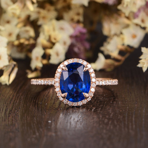 2.00ct Lab Created Blue Sapphire Engagement Ring, Vintage Design, Oval Cut, Available In All Metal Types