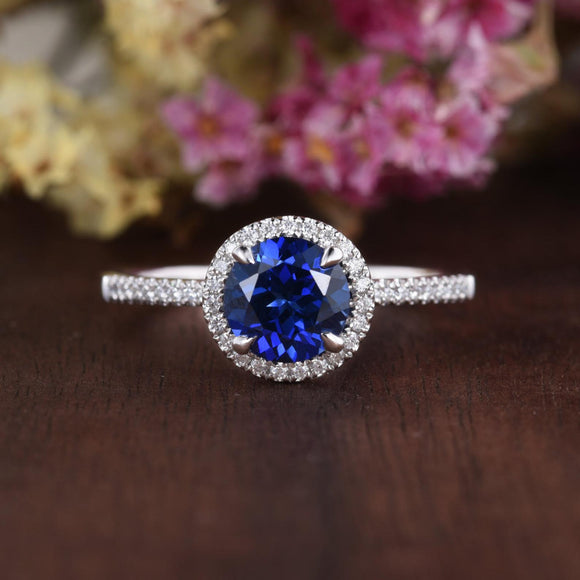 1.25ct Lab Created Blue Sapphire Halo Engagement Ring, Vintage Design, Available In All Metal Types