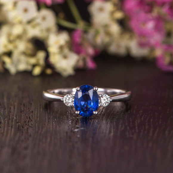 0.75ct Lab Created Blue Sapphire Engagement Ring, Vintage Design, Available In All Metal Types