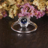1.00ct Lab Created Blue Sapphire Engagement Ring, Art Deco Vintage Design, Round Cut, Available In All Metal Types