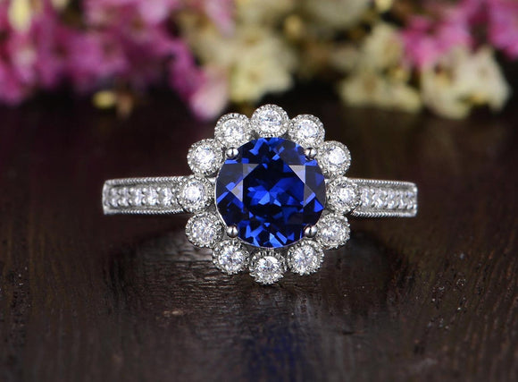 1.25ct Lab Created Blue Sapphire Engagement Ring, Art Deco Vintage Design, Available In All Metal Types