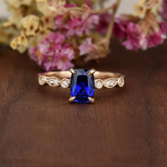 1.25ct Lab Created Blue Sapphire Engagement Ring, Art Deco Vintage Design, Cushion Cut, Available In All Metal Types