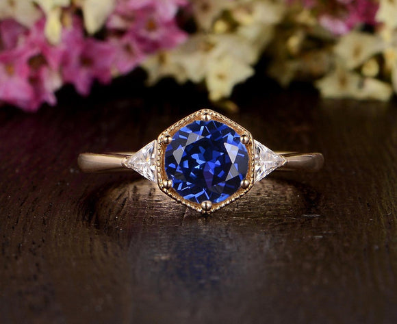 1.00ct Lab Created Blue Sapphire Engagement Ring, Art Deco Vintage Design, Available In All Metal Types