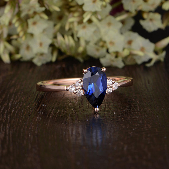 1.25ct Lab Created Blue Sapphire Ring, Art Deco Vintage Design, Pear Cut, Available In All Metal Types