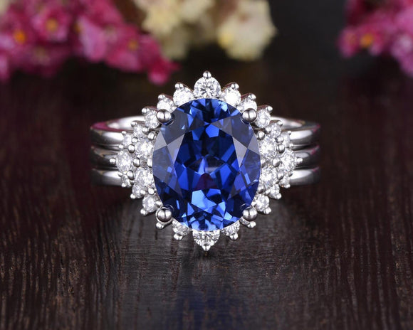 4.00ct Lab Created Blue Sapphire Ring Set, Art Deco Vintage Design, Oval Cut, Available In All Metal Types