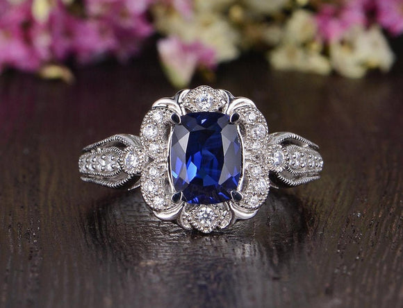 2.00ct Lab Created Blue Sapphire Engagement Ring, Art Deco Vintage Design, Cushion Cut, Available In All Metal Types