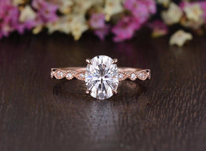 Oval Cut Moissanite Engagement Ring, Classic Design, Choose Your Stone Size & Metal