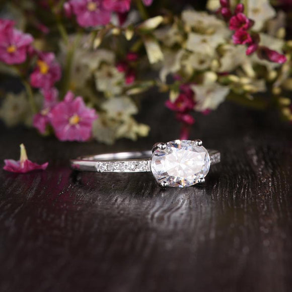 Oval Cut Moissanite Engagement Ring, Unique Vintage Design, Choose Your Stone Size & Metal