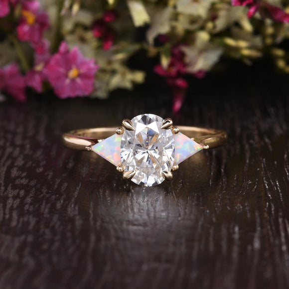 Oval Cut Moissanite & Opal Engagement Ring, Edwardian Design, Choose Your Stone Size & Metal