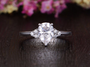 Pear Cut Moissanite Engagement Ring, Edwardian Design, Choose Your Stone Size & Metal
