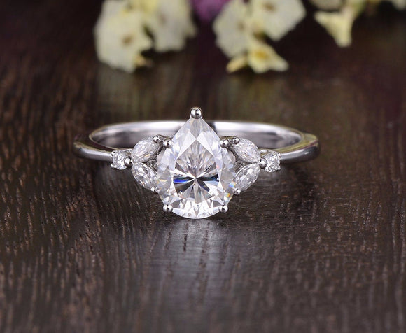 Pear Cut Moissanite Engagement Ring, Vintage Design, Choose Your Stone Size & Metal