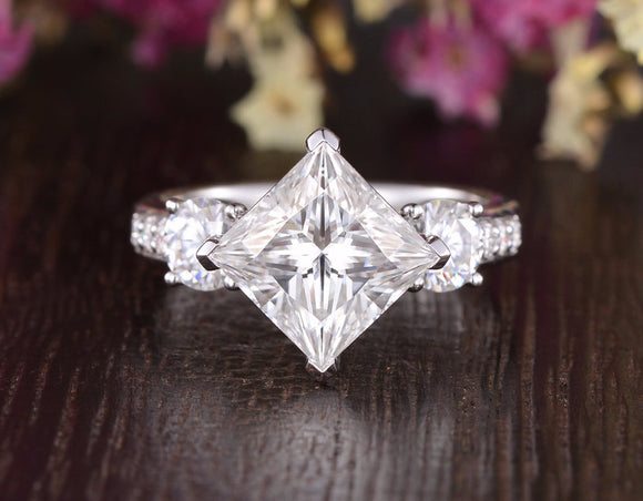 Princess Cut Moissanite Engagement Ring, Vintage Design, Choose Your Stone Size & Metal