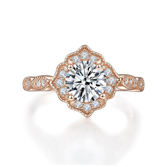 1.20ct Rose Gold, Round Brillaint Cut Diamond Halo Ring, 925 Sterling Silver Engagement Ring