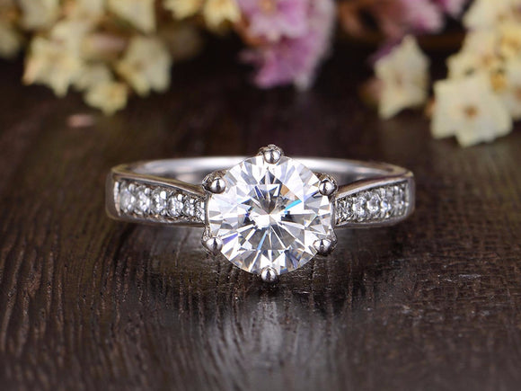 Round Cut Moissanite Engagement Ring, Vintage Six Claw Design, Choose Your Stone Size & Metal
