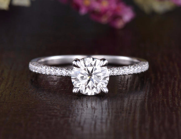 Round Cut Moissanite Engagement Ring, Delicate Vintage Design, Choose Your Stone Size & Metal