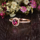 0.50ct Lab Created Ruby Halo Engagement Ring, Vintage Design, Oval Cut, Available In All Metal Types