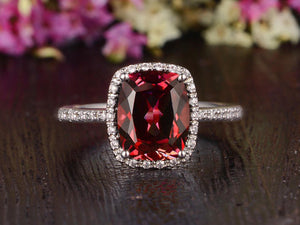 4.00ct Lab Created Ruby Halo Engagement Ring, Vintage Design, Cushion Cut, Available In All Metal Types