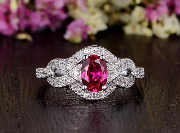 0.75ct Lab Created Ruby Engagement Ring, Art Deco Vintage Design, Oval Cut, Available In All Metal Types