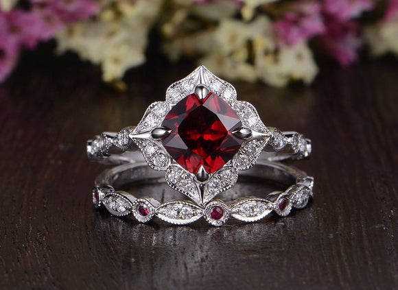 2.00ct Lab Created Ruby Engagement Ring, Art Deco Vintage Design, Cushion Cut, Available In All Metal Types